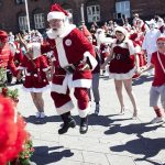 Santa jumping for joy at the thought of getting out of his hot costume.Photo: David Leth Williams/Scanpix