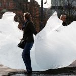 """Olafur Eliasson installed 12 huge blocks of Greenland ice at Copenhagen's City Hall Square in collaboration with geologist Mias a 'wake-up call' ahead of the IPCC meeting in Copenhagen. """"We, the world, must and can act now. Let's transform climate knowledge into climate action,"""" the pair said. Photo: Anders Sune Berg"""