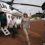 The PM arrived by helicopter in Port Loco.Photo: Nils Meilvang/Scanpix