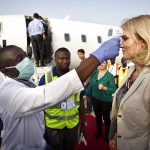 The PM had to undergo mandatory temperature checks before and after entering the Ebola treatment centre.Photo: Nils Meilvang/Scanpix