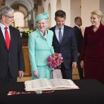 House speaker Mogens Lykketoft, Queen Margrethe, Crown Prince Frederik and PM Helle Thorning-Schmidt look at the 1915 constitution. Photo: Nils Meilvang/Scanpix