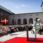 Queen Margrethe addresses the crowd. Photo: Nils Meilvang/Scanpix