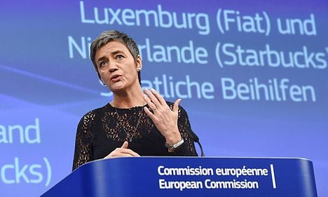 Denmark's Vestager tells Fiat and Starbucks to pay