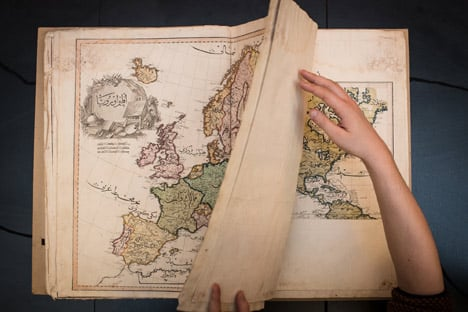 The Cedid Atlas is believed to be the first atlas published in the Muslim world. Photo: Nikolaj Blegvad/The National Library of Norway