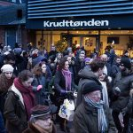 Danes gather outside of the Krudttønden cultural centre, the site of the first shooting.Photo: Claus Bech/Scanpix