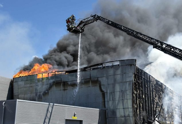 Denmark sports arena fire started by weed remover
