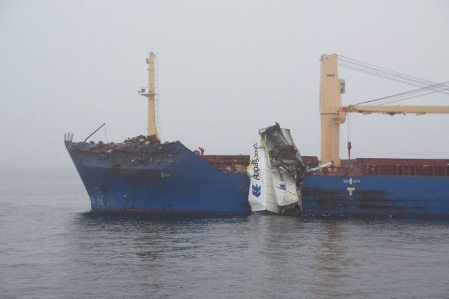 Fire after collision between ships in Danish strait