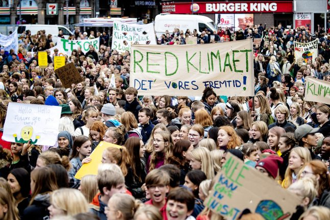 Thousands of Danish schoolkids take part in global climate strike