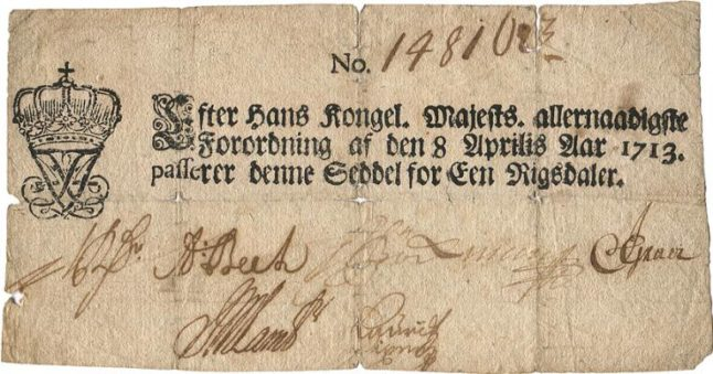 One of Denmark's first ever banknotes sells for 170,000 kroner