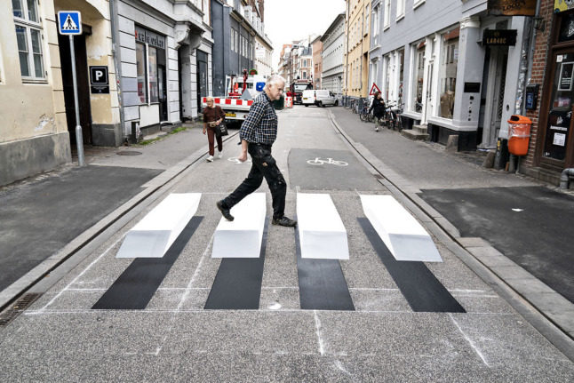 Three new '3D' painted crossings in Aarhus aim to increase safety for pedestrians.